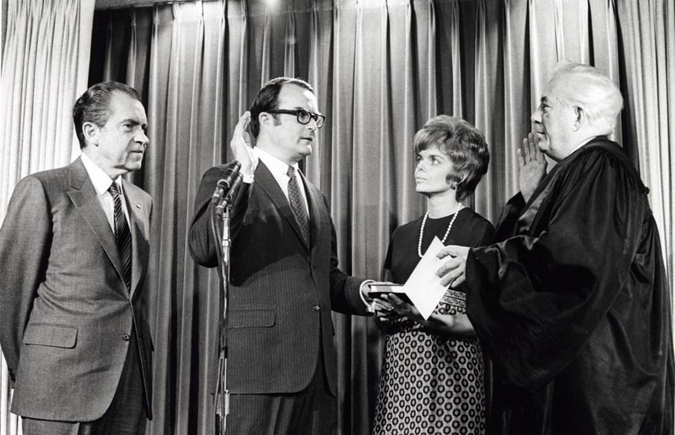 William Ruckelshaus being sworn in as the first EPA administrator, alongside Richard Nixon.